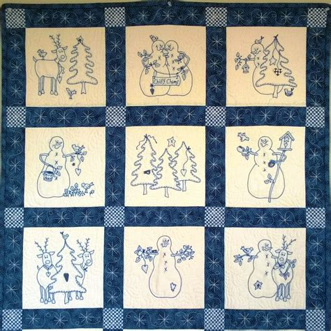 embroidery quilting designs a quilt of snowmen and their reindeer buddies embroidered