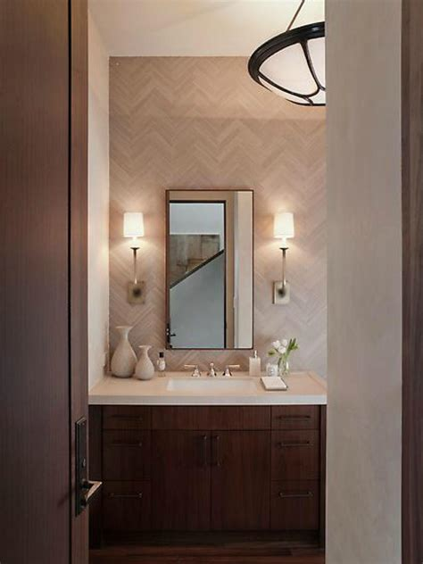 small midcentury modern bathroom  herringbone