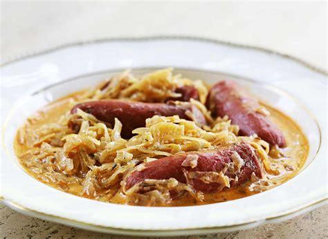 sauerkraut recipes franks and sauerkraut paprikash recipe simplyrecipes com