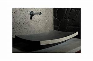 vasque salle de bain en pierre 60x40 basalte noire lotus With vasque salle de bain pierre noire
