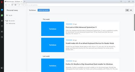 How To Add A Site Rss Feed To Opera Personal News