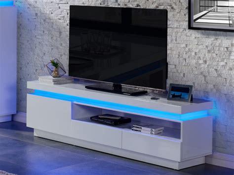 meuble tv emerson 1 porte 2 tiroirs leds laqué blanc
