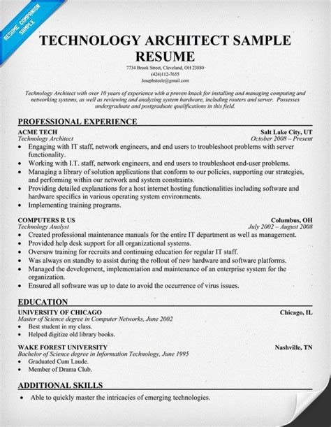 Technical Resume Tips by Technology Architect Resume Resumecompanion Tech