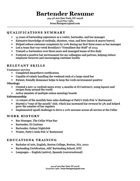 Best Bartending Resume by Functional Resume Exles Writing Guide Resume Companion