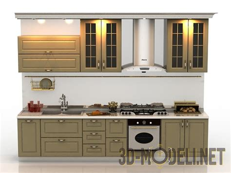 3d max kitchen design 3d модель компактная кухня в стиле 171 прованс 187 3895