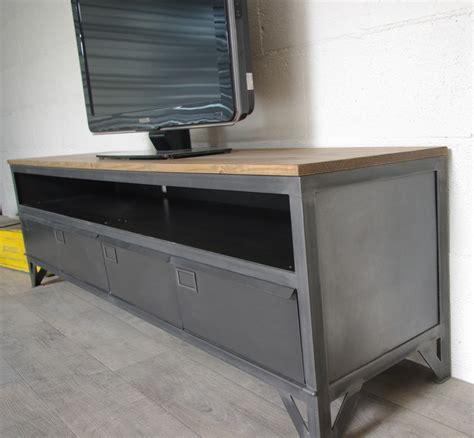 meuble tv industriel bois meuble t 233 l 233 industriel avec 4 clapets d administration et