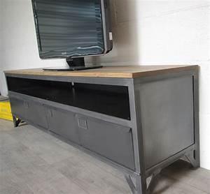 Meuble Tv Metal : meuble tv metal bois maison design ~ Teatrodelosmanantiales.com Idées de Décoration