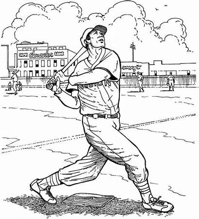 Coloring Baseball Pages Sox Boston Batter Cardinals