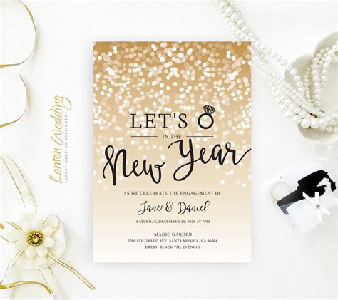 printed  years eve engagement party invitations