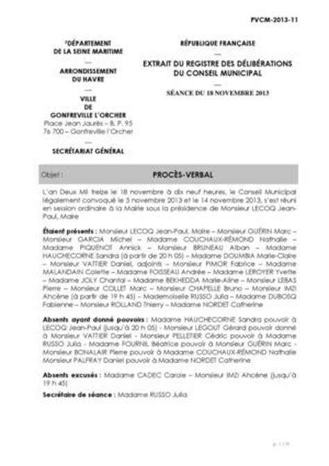 declaration changement bureau association calam 233 o proc 232 s verbal conseil municipal du 18 novembre 2013