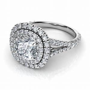 split shank cushion cut double halo engagement ring With halo wedding rings
