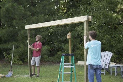 Hammock Posts In Ground by How To Build A Diy Pergola Hammock Stand For 200