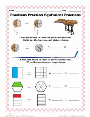 finding equivalent fractions worksheet education