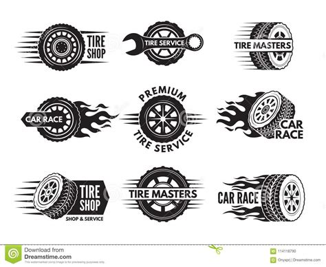 Race Logos With Pictures Of Different Cars Wheels Stock