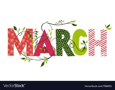 March month name Royalty Free Vector Image - VectorStock