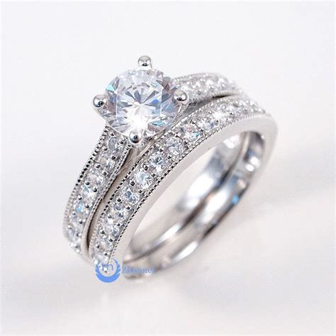 1 25ct engagement wedding set 2 rings signity cz pave