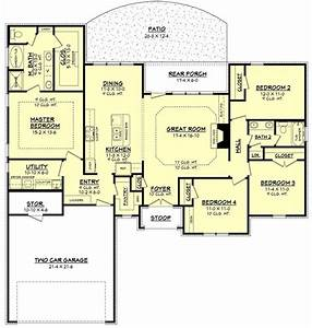 Ranch Style House Plan - 4 Beds 2 Baths 1875 Sq/Ft Plan ...