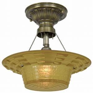 Antique amber glass art deco bowl shade ceiling light