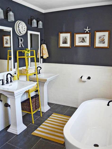 Yellow And Gray Bathroom Wall by Creative Bathroom Storage Ideas Grey The And Kid