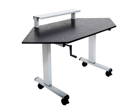 luxor 60 quot crank adjustable standing corner desk standup