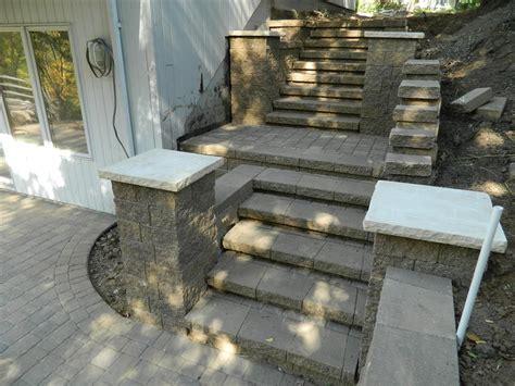 brick  block stairs devine design hardscapes