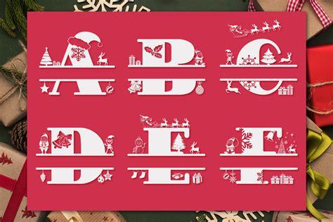 christmas monogram alphabet christmas split letters