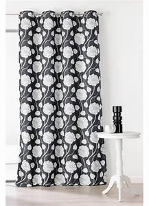 Oeillet De Rideau : rideau motifs fleurs avec oeillets noir et gris blanc ~ Premium-room.com Idées de Décoration