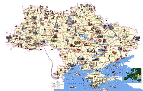 large detailed tourist map  ukraine ukraine europe