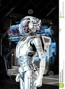 Futuristic Astronaut Girl In Space Suit Stock Illustration ...
