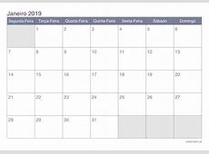 Calendário janeiro 2019 para imprimir iCalendáriopt