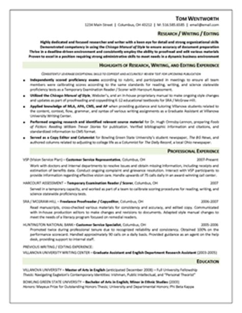 resume highlights section exles resume sles resume 555