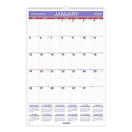 glance monthly wall calendar january december