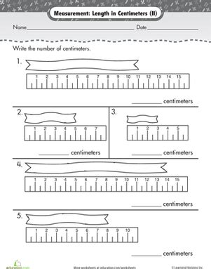 measurement length in centimeters worksheets math and school