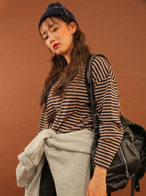 stylenanda loose stripe pattern pullover kstylick