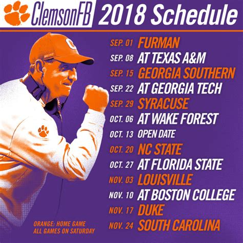 football schedule announced clemson tigers official