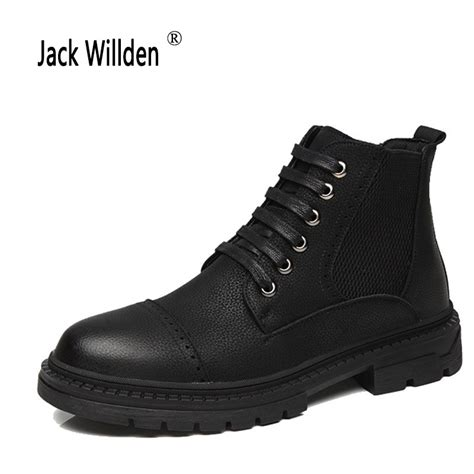 Jack Willden Leather Men Ankle Boots Fashion Snow