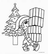 Elf Coloring Pages Printable Presents Christmas Cool2bkids Carrying sketch template