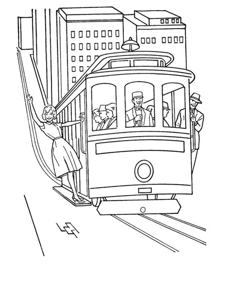 Tram Kleurplaat by Trolley Cable Car Coloring Pages Coloring Pages For