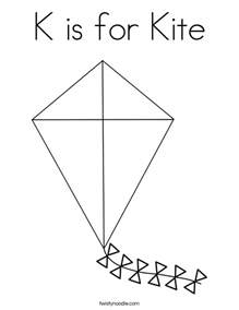 K Kite Coloring Page for Preschool