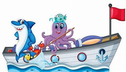 Sea Boat Riding Creatures Flag Illustration Vector