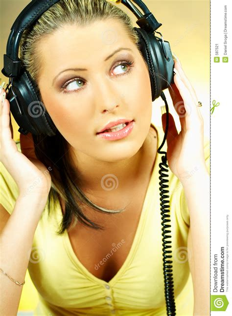 girl  headphones stock image image