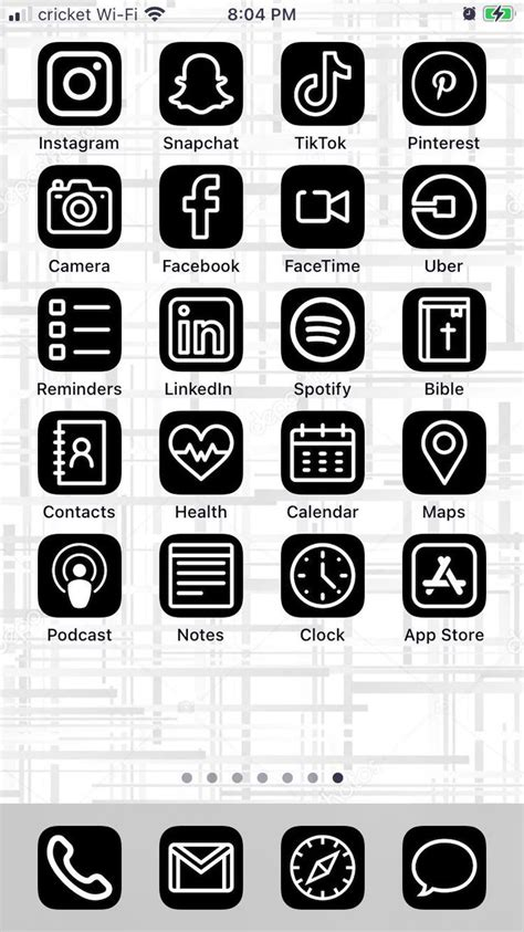 black white ios 14 aesthetic iphone app icons