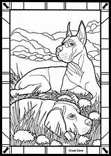 Coloring Pages Dane Colouring Dog Danes Dover Stained Glass Printable Publications Dogs Adults German Animals Sheets Animal Commission Linda Pointer sketch template