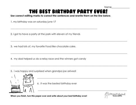 Best Birthday Party Ever (grammar Practice Worksheet)  Squarehead Teachers