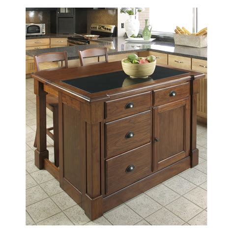 portable kitchen island with drop leaf home styles aspen granite top kitchen island with two