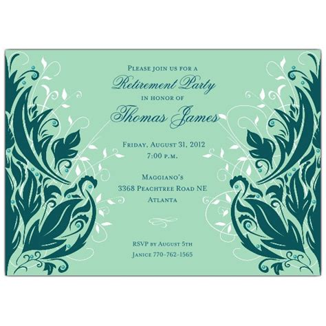 andromeda teal blue retirement dinner invitations paperstyle