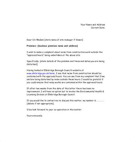 complaint letter template uk noise complaint letter