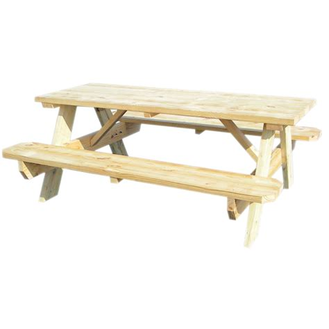 shop 72 quot l wood rectangular picnic table with benches at lowes com