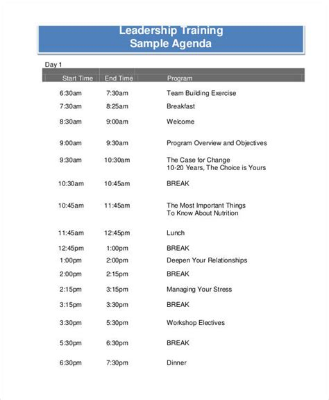 training agenda examples samples