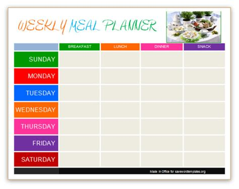 Meal Planner Template Word by Planner Templates Save Word Templates